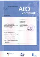 AEO-Zertifikat DE AEOF 102832 (authorised economic operator of customs law simplyfications / safety)